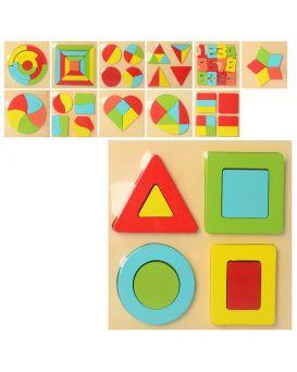 Деревянная игрушка «Геометрика» в ассортименте, в пакете 15х15х1,5 см