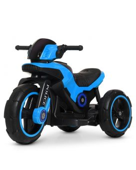 Мотоцикл 2 мотора 18W, 1 аккумулятор 6V7AH, TF, колеса Eva, кожаное сидение, синий