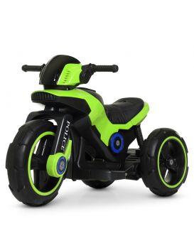 Мотоцикл 2 мотора 18W, 1 аккумулятор 6V7AH, TF, колеса Eva, кожаное сидение, зеленый