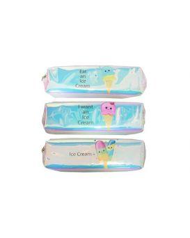 Пенал - косметичка «Мороженое» 18,5 х 6 х 3,5 см, лазерный