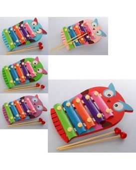 Деревянная игрушка «Ксилофон Сова» 18,5 см, 5 тонов, 2 палочки, в ассортименте, кор. 18,5х13х2 см
