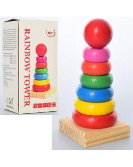 Деревянная игрушка «Пирамидка» в коробке 15,5х7,5х7 см