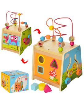 Деревянная игрушка «Развивающий Центр» на проводе, лабиринт, сортер, в коробке 25х21х21 см