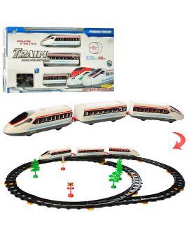 Железная дорога 308 см, локомотив 2 шт., вагон 17 см, на бат., звук, свет, деревья, в кор.48х26х5 см