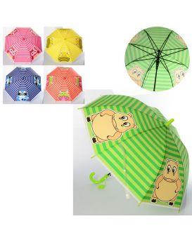 Зонтик детский длина 66 см, трость 60 см, диаметр 82 см, спица 48 см, свисток, в ассортименте