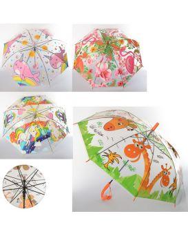 Зонтик детский длина 66 см, трость 54 см, диаметр 80 см, спица 48 см, свисток, в ассортименте