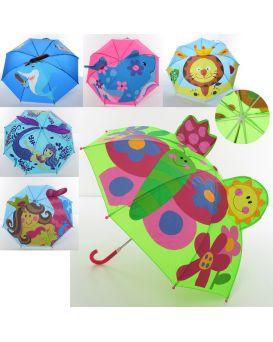 Зонтик детский с ушками длина 60 см, трость 60 см, диаметр 73 см, спица 45 см, в ассортименте