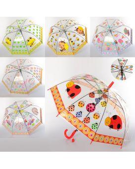 Зонтик детский длина 66 см, трость 54 см, диаметр 76 см, спица 48 см, свисток, в ассортименте