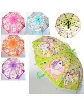Зонтик детский длина 67 см, трость 61 см, диаметр 84 см, спица 48 см, свисток, в ассортименте