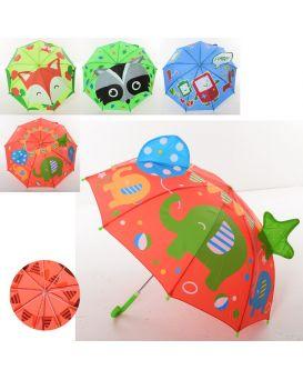 Зонтик детский с ушками длина 60 см, трость 59 см, диаметр 73 см, спица 46 см, в ассортименте
