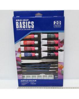 Краски гуашевые 12 цветов по 12 мл, палитра, кисточки, карандаши, резинка «Basics»