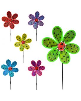Ветрячок «Цветок» на палочке 50 см, диаметр 28 см, в ассортименте, в пакете 28х28х2 см