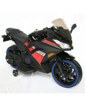 Мотоцикл 1 мотор 45W, 2 аккумулятора 6V4,5 AH, MP3, TF, кожаное сиденье, колеса светятся, черный