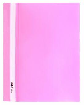 Папка - скоросшиватель с прозрачным верхом А4 без перфорации, розовая.
