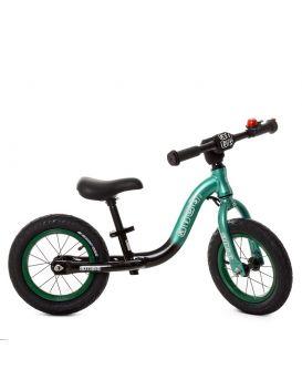 Беговел «PROFI KIDS» резиновые колеса диаметром 12 дюймов, метал. каркас, звук, зелено - черный