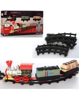 Железная дорога 46х46 см, на батарейке, звук, свет, паровоз, вагон 2 шт., 11 деталей, кор.46х23х6,5
