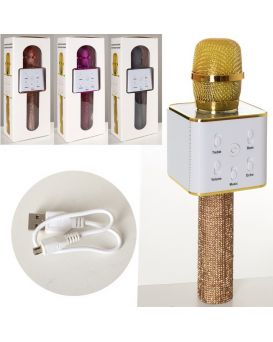 Микрофон 25 см, аккумулятор, Bluetooth, USB зарядка, в ассортименте, в коробке 29х10х9 см