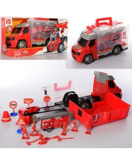 Гараж пожарная машина 33см, звук, свет, фигурки, машинки инерционные, в коробке, 38*21*16см