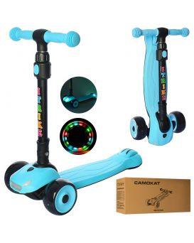Самокат 3-х колесный MAXI, алюм + пластик, свет, ПУ, колеса 120-30мм, руль 72*77см, синий, в кор.