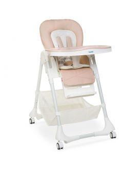 Стульчик для кормления, 5точечні ремни, столик выдвижной, 4 колеса, кожа, бежевый