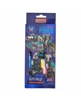 Карандаши двусторонние 12 шт. 24 цвета «Steel Force»