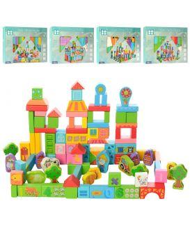 Деревянная яна игрушка Городок 100 дет, в ассортименте, в коробке, 37,5-26,5-3,5 см