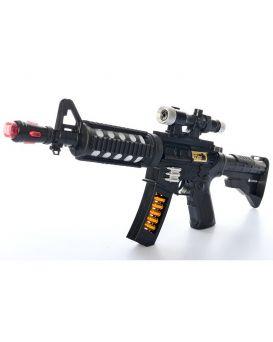 Автомат 50см, звук (англ,стрельба), свет, на батарейке, в свертке, 20-38-5см