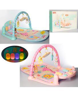 Коврик для младенца 82-48см, дуга, подвески, пианино, муз, свет, в ассортименте, в кор,50-34,5-9,