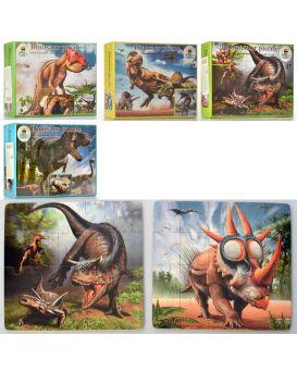 Деревянная яна игрушка Пазлы динозавры, в ассортименте (20дет и 30дет), в коробке, 22-16-5см