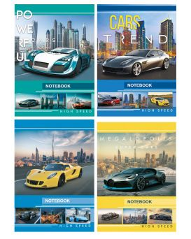 Блокнот А6 176 листов, серия «CARS», тв. паліт.,микс
