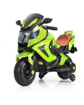 Мотоцикл 2 мотора 18W, 2 аккум. 6V4,5A, ручка газа, резиновые колеса, USB,TF, музыка, кожаный сид