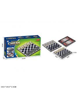 Шахматы магнитные 3 в 1, в коробке 24,1х12,2х4 см