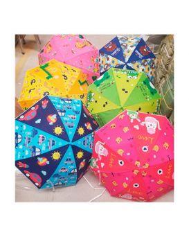 Зонтик детский длина 66, трость 60, диам. 82, клеенка, в ассортименте, в пакете