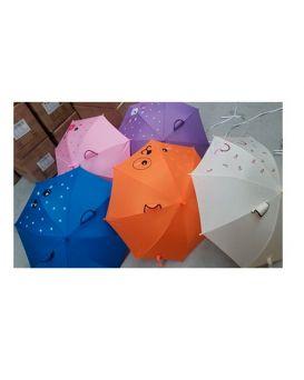 Зонт детский длина 70, трость 65, диам. 85, ушки, ткань, в ассортименте, в кульку