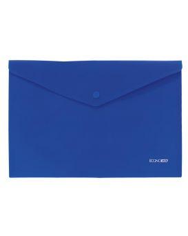 Папка - конверт А4 на кнопке, прозрачная, 180 мкм., фактура апельсин, синяя, ТМ Economix