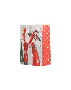 Пакет бумажный с глиттером, 18х23х10 см «Новый Год»