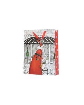 Пакет бумажный с глиттером, 32х42х12 см «Новый Год»