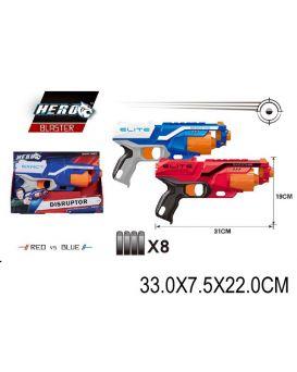 Бластер стреляет поролон. снарядами, в ассортименте., в коробке 33х7,5х22 см