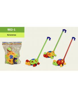 Каталочка черепаха в ассортименте, длина ручки 45 см, р-р іграшки 24х18х14 см