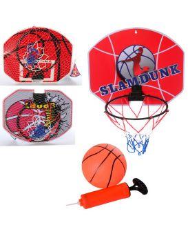 Баскетбольное кольцо пластик 21,5 см, сетка, щит, мяч, в ассортименте, в сетке 35х29х2 см