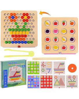 Деревянная мозаика 2в1 игра на память, мозаика с трафаретами, в коробке 24х24х4.5 см