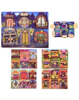 Деревянный бизиборд, дверки, в ассортименте, р-р игрушки 29.5х22х2 см, в пленке