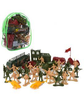 Набор «Солдатиков» комбат, военная техника, солдаты, баррикады, в рюкзаке 21,5х17х6,5 см