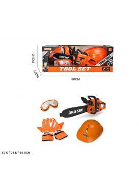 Набор инструментов бензопила, маска, перчатки, шлем, в коробке 58*21*15см