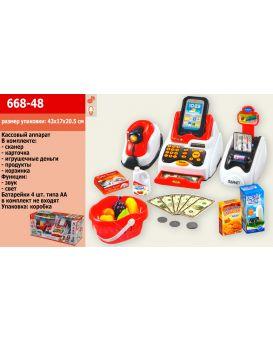Кассовый аппарат на батарейке, звук, свет, сканер, деньги, продукты, в коробке 43х17х20,5 см