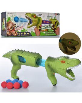 Автомат помповый динозавр, 42см, звук, свет шарики (мягкие) 8шт, бат(таб), в кор-ке,45-17-7,5