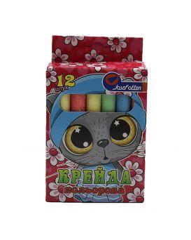 Мел круглый, цветной, 6 цветов, 12 шт. «Котенок» 8х0,9 см, в картонной упаковке