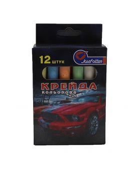 Мел круглый, цветной, 6 цветов, 12 шт. «Mustang» 8х0,9 см, в картонной упаковке