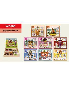 Деревянная игрушка «Доска двусторонняя» в наборе карточки, магнитные детали, маркер, в ассортименте