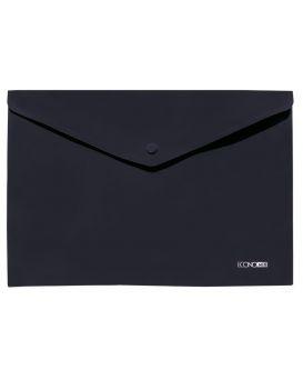 Папка - конверт А4 на кнопке, прозрачная, 180 мкм., фактура апельсин, черная, ТМ Economix